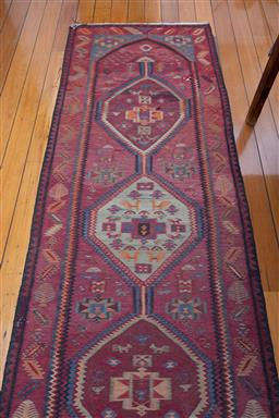 Sale 9191H - Lot 56 - A red toned Kilim runner, size 101 x 300 cm
