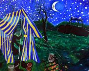 Sale 8443 - Lot 525 - Bernard Ollis (1951 - ) - Camping Under the Stars, 2009 160 x 198cm
