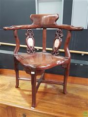 Sale 8593 - Lot 1005 - Chinese Rosewood Marble Inlaid Corner Chair