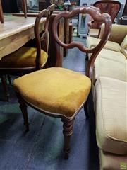 Sale 8601 - Lot 1103 - Set of Four Kidney Back Chairs with Gold Upholstered Seat