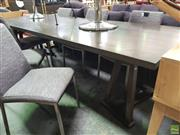 Sale 8637 - Lot 1079 - Timber Dining Table on Twin Pedestal Base