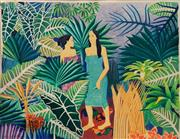 Sale 8791 - Lot 529 - Bob Marchant (1938 - ) - Untitled (Island Scene with Two Figures) 128 x 156.5cm