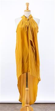 Sale 8891F - Lot 44 - A Manning Cartell mustard silk halterneck dress with an asymmetric hemline, size 8