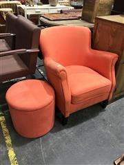 Sale 8893 - Lot 1079 - Orange Upholstered Tub Chair with Cylindrical Footstool