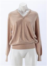 Sale 8910F - Lot 29 - A pure cashmere v-neck sweater in oatmeal, S 40, together with a matching cardigan by Lands-End