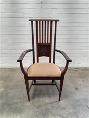 Sale 9085 - Lot 1083 - Edwardian Mahogany Arts & Crafts Armchair, with Art Nouveau inlay, padded seat & tapering legs (h:112 x w:64 x d:39cm)