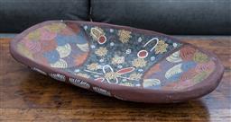 Sale 9191H - Lot 3 - A hand-painted Coolamon, L 57 cm