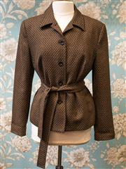 Sale 8474A - Lot 92 - A smart 100% Wool David Lawrence bronze patterned jacket with waist belt - Condition: Excellent - Size: 14