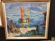 Sale 8491 - Lot 2089 - Rich Faiis (Danish School) Seaside Townscape, oil on canvas, 64.5 x 74cm, signed lower left