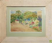 Sale 8604 - Lot 2089 - 2 Works: George Davis - Coast, Watercolour SLL & Elizabeth Whitehead - Garden, Watercolour SLL
