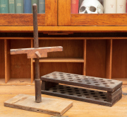 Sale 8795A - Lot 89 - Timber test tube holder together with an adjustable example