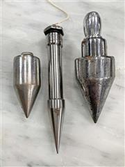 Sale 8951P - Lot 350 - Collection of 3 Steel Finished Plumb Bobs inc Moore & Wright (largest 11.5cm)