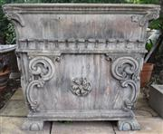 Sale 8950G - Lot 30 - Magnificent pair of European cement planters with aged patina 88cm Height Top is 1mx1m
