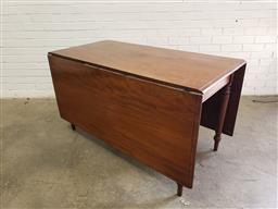 Sale 9097 - Lot 1069 - Early 19th Century Mahogany Drop-Leaf Table, on turned legs (h:74 x w:137 x d:65cm),