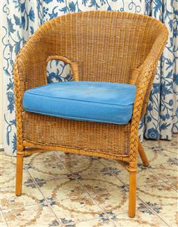 Sale 9164H - Lot 10 - A single rattan chair with blue removable cushion, Height of back 80cm x Width 64cm
