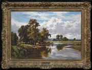 Sale 8420 - Lot 572 - Henry H. Parker (1858 - 1930) - On the Banks of the Thames 49.5 x 74cm