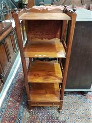 Sale 8774 - Lot 1058 - Early Victorian Mahogany Whatnot, of four tiers with shaped gallery rails, on square chamfered supports, with turned knobs & drawer...
