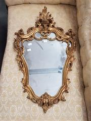 Sale 8814 - Lot 1048 - Small Rococo Style Gilt Mirror, with scroll frame with crest
