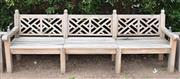 Sale 8950G - Lot 31 - A large teak bench  2.75m long 95cm height
