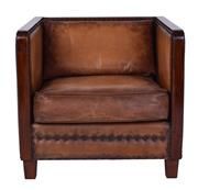 Sale 8957T - Lot 36 - Pair of 1930s French Box style armchairs, soft leather with solid walnut show timber detail across back and arms W72 X D80 X H67