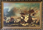 Sale 8961 - Lot 2051 - Artist Unknown Battle of Trafalgar oil on board 98 x 138cm (frame), signed