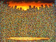 Sale 9038 - Lot 564 - Trish Hend (1940 - ) - Wild Flowers Bathed in Moonlight 92 x 122 cm