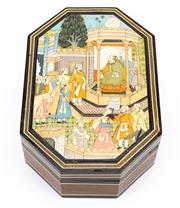 Sale 8855D - Lot 634 - A painted timber box of octagonal form with a hand painted Persain court scene to lid, length 23cm