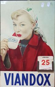 Sale 8723 - Lot 1001 - Vintage Viandox Tin Calendar
