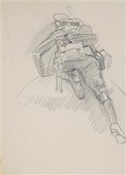 Sale 8881 - Lot 578 - George W. Lambert (1873 - 1930) - Over The Top (study) 23.5 x 17.5 cm