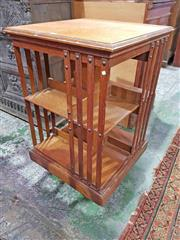 Sale 8939 - Lot 1068 - Edwardian Oak Revolving Bookcase, of two tiers. H: 85, W: 50cm2