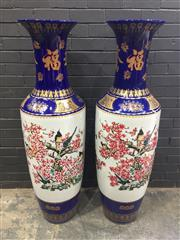 Sale 9006 - Lot 1001 - Pair of Oversized Chinese Ceramic Vases Decorated with Cherry Blossoms and Birds (H:141cm)