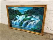 Sale 9080 - Lot 1021 - Large gilt framed light box of picturesque waterfall scene (98 x 148cm)