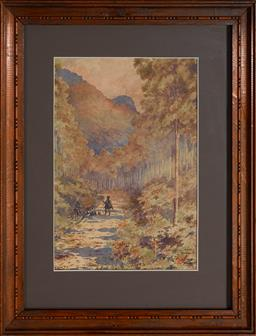 Sale 9127 - Lot 2069 - Archibald Fenton Spencer (1860 - 1933) Travellers Resting at Katoomba Track, 1900 watercolour 27 x 18.5 cm (frame: 43 x 33 x 2 cm) s...
