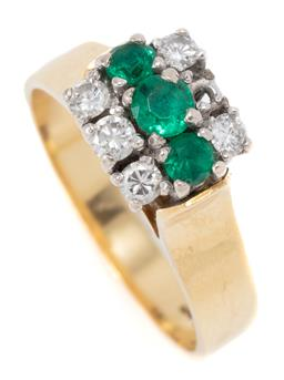 Sale 9160 - Lot 315 - A VINTAGE 18CT GOLD EMERALD AND DIAMOND RING; high pillar claw set with 3 synthetic emeralds and 5 round brilliant cut diamonds tota...