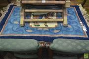 Sale 8347 - Lot 1047 - Oriental Rug with Tang Style Horse on Blue & White Background
