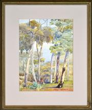 Sale 8401 - Lot 557 - Attributed to Hans Heysen (1877 - 1968) - Gum Trees 47.5 x 29.5cm