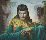 Sale 8703A - Lot 6 - Tretchikoff, Green asian lady, 1955, framed print, frame size 64cm x 74cm