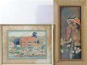 Sale 9003C - Lot 687 - A Framed Ian Westbrook Watercolour (frame size 50cm x 40cm) and Balinese School Print
