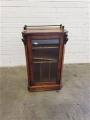 Sale 9085 - Lot 1004 - Victorian Figured Walnut & Inlaid Music Cabinet, with brass gallery, above a glass panel door enclosing labelled shelves - key in of...