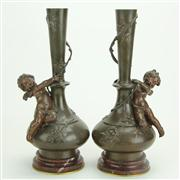 Sale 8393B - Lot 18 - Bronze Pair of Vases with Putti Figures Signed Moreau