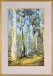 Sale 8401 - Lot 558 - Hans Heysen (1877 - 1968) - Australian Bush Scene 31.5 x 23.5cm