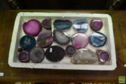 Sale 8515 - Lot 1056 - Tray Pink Polished Agates