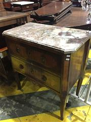 Sale 8634 - Lot 1032 - Louis XV/ XVI Transitional Period Petite Commode, by Jean-Georges Schlichtig, with shaped marble top, above two geometric marquetry...