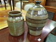 Sale 8657 - Lot 1040 - Ceramic Demijon and Croc