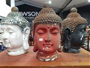 Sale 8700 - Lot 1057 - Set of 3 Ceramic Buddha Heads