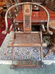 Sale 8728 - Lot 1095 - Chinese Rosewood Folding Horseshoe Chair, with woven rope seat & metal mounts