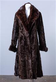 Sale 8828F - Lot 16 - A Dyed-Brown African Kid Full-Length Coat With Removable Mink Collar By Hammerman Furs, Size Medium