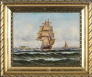 Sale 8838A - Lot 5178 - Artist Unknown - Tall Ship in Harbour 22 x 27cm