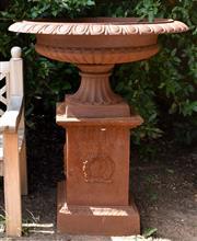 Sale 8950G - Lot 34 - Fine pair of cast iron urns on plinths.  1.14m Height 95cm diameter