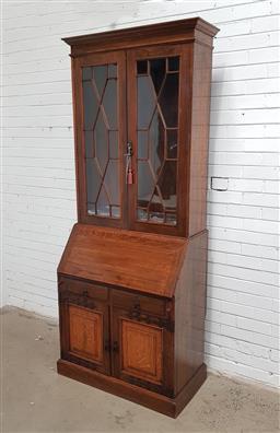 Sale 9121 - Lot 1038 - Oak drop front bureau bookcase (h:230 w:91 d:52cm)